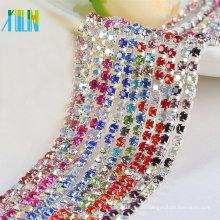Crystal Rhinestone Chain Trimming para el vestido de boda de lujo SS6.5 8.5 10 12 Rhinestone Metal Cup Chain DIY artesanías