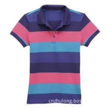 Girl\'s Slim Polo T-shirt Basic Style with Stripes