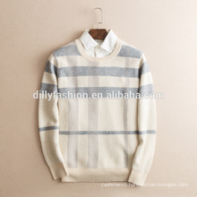 British style man winter classic cashmere O neck long sleeves jacquard design sweater