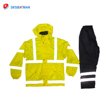 Top quality adult foldable waterproof rain work drawstring waist jacket raincoat with reflective strips
