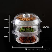 Prateleira de pratos de plástico com tampa