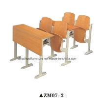 Mesa de escola de madeira e cadeira para sala de aula de passo