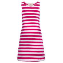 Grace Karin Enfant Enfants Fille Robe sans manches en coton rond et rose rayé CL010490-1