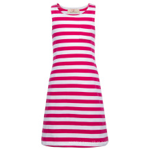 Grace Karin Crianças Crianças Meninas mangas de pescoço redondo Deep Pink White Striped Cotton Dress CL010490-1