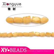 Perles naturelles précieuses jaune topaze 6x8mm Square