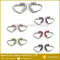 16 Gauge Purple Heart Left Closure Daith Prong Set Cubic Zirconia Cartilage Tragus Earring