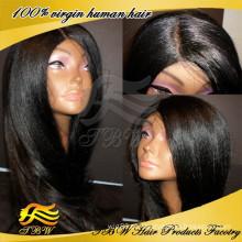 Preço de fábrica de alta qualidade yaki peruca de cabelo humano atacado barato yaki italiano peruca cheia do laço