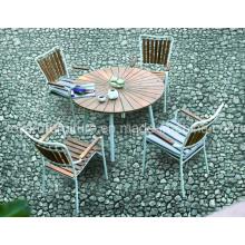 2-jährige Garantie Outdoor Patio Garten Tisch Set Aluminium Teakholz Stühle