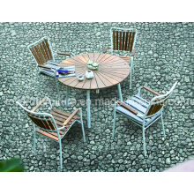 2-Years of Warranty Outdoor Patio Garden Table Set Aluminum Teak Wood Chairs