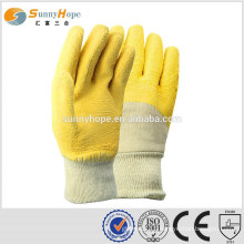 knit wrist industrial latex rubber hand gloves
