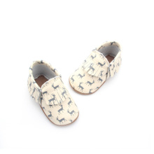 Blue Deer Pattern Mocasines Soft Baby Shoes