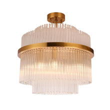 Contemporary Decorative LED Lighting Clear Crystal tube Hanging Chandelier For Living Room