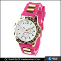 silicone strap women watch gold from bsci approved factories