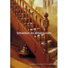 Barandilla de roble rojo tallada a mano de balaustrada clásica de madera maciza.