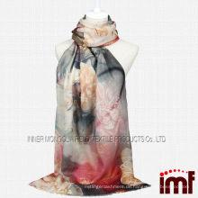 Pfingstrosen-Flora-Digitaldruck-Frauen-Weihnachtsgeschenk-Woll-Schal-Schal