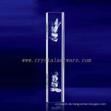 K9 3D Laser Plum Blume geätzt Kristall mit Säulenform