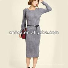 13STC5634 Pullover Kleid Pullover Dame Kabelstrickkleid