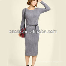 13STC5634 sweater dress pullover lady cable knit dress
