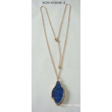 Metal Plated Necklace with Blue Stone Pendant