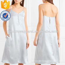 Latest Design 2019 Spaghetti Strap Silver Mini Summer Dress With Buttons Manufacture Wholesale Fashion Women Apparel (TA0243D)