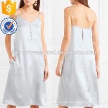 Mais recente projeto 2019 cinta de espaguete prata mini vestido de verão com botões de fabricação atacado moda feminina vestuário (t0243d)