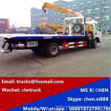 Camión de auxilio de Dongfeng 5 toneladas carretera plataforma con grúa