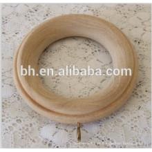 Amerika-Art-heißer Verkauf Unfertige Natur-Farbe Holz-Vorhang-Ring für Vorhang-Pole-Innere Dia 58mm äußere Dia 95mm