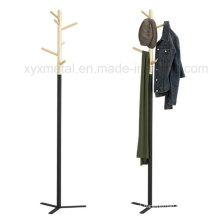 Moda Estilo Moderno Metal Base de aço Suporte de madeira Hat Coat Rack