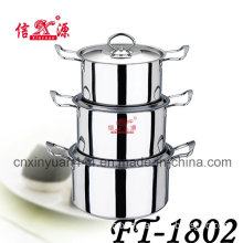6PCS Stainless Steel Double Handle Cookware Set Pot (FT-1802)