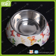 Fashion Design Melamine Bowl with Stainless Steel Pet Bowl