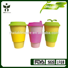 E-co green BAMBOO FIBER coffee mug with silicone cover