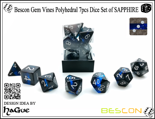 Bescon Gem Vines Polyhedral 7pcs Dice Set of SAPPHIRE-4