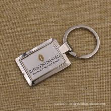 Kundenspezifisches quadratisches Metall Keychain mit Aufkleber-Hauben-Logo