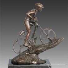 Estatua Deportiva Bicicleta de montaña que compite con la escultura de bronce del jugador, Nick TPE-790
