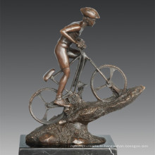 Statue sportive Mountain Bike Racing Player Bronze Sculpture, Nick TPE-790