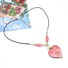 Mina factory  new design pink acrylic 3D heart pendant necklace