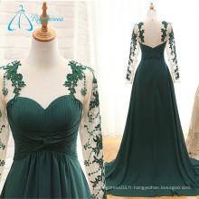 A-Line Lace Plus Size Robe de soirée plissée en tulle à manches longues