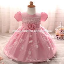 2017 nuevos diseños del vestido del bebé de las muchachas del vestido de manga corta atada para el bautismo y el bautizo