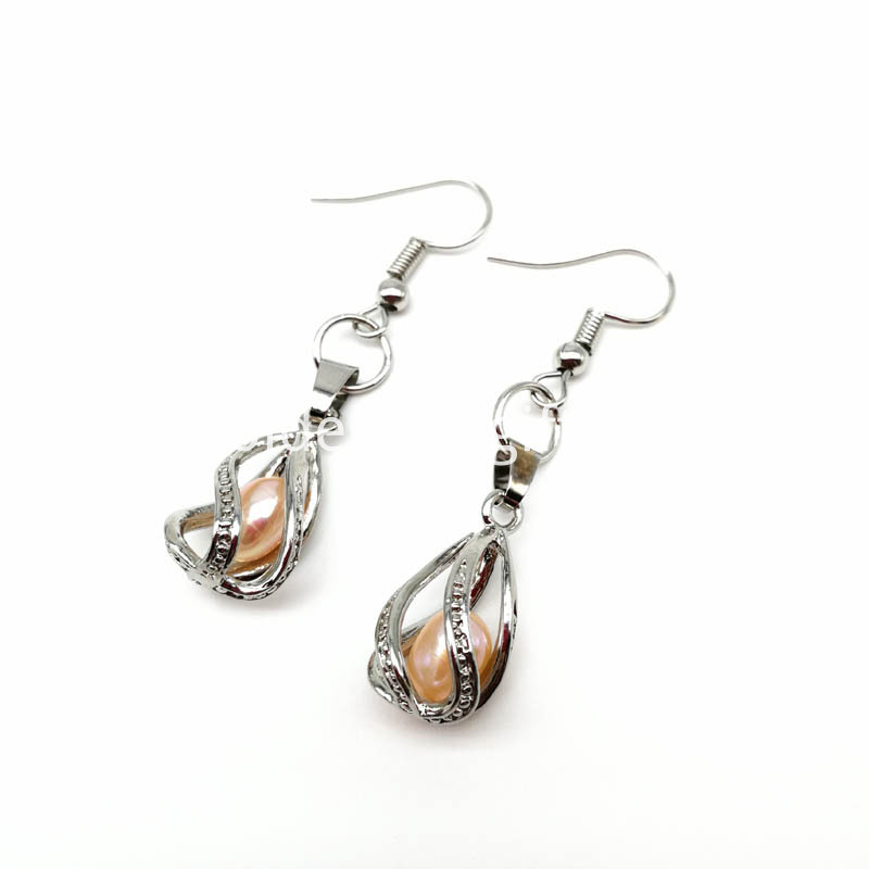 Water Drop Pearl Cage Pendant Earrings