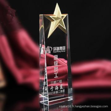 Trophée en cristal de haute qualité avec le cadeau en cristal d'étoile en métal