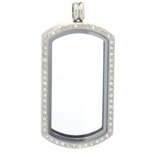 Dog tag crystal floating charms locket, stainless steel memory keepsake locket glass pendant