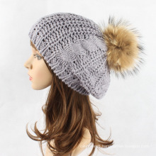 Girls Real Raccoon Fur POM POM Cable Twisted Knitted Cap Hat Beret Beanie (HW139)