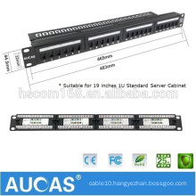 "Aucas Taiwan Imported FTP/STP Shielded 24 Port Cat6 Patch Panel 19"" 1U For Network Cables"