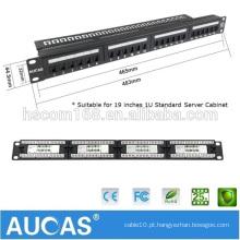 "Aucas Taiwan Imported FTP / STP Blindado 24 portas Cat6 Patch Panel 19 ""1U para cabos de rede"