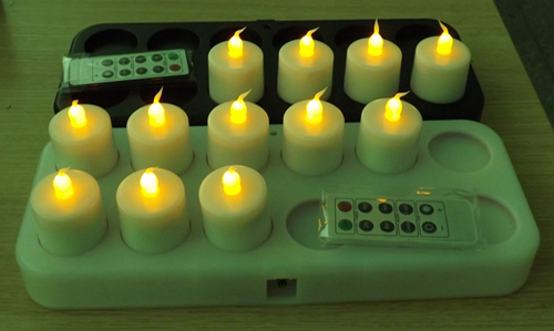inductively Rechargeable LED tealight candle with remote