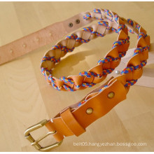Lady hand made braided belts leather with colourful climbing rope