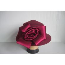 Chapeaux en tissu de laine pour femmes garnis de fleurs en satin