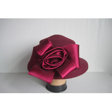 Women's Wool Fabric  Hats Trimmed Satin Flower