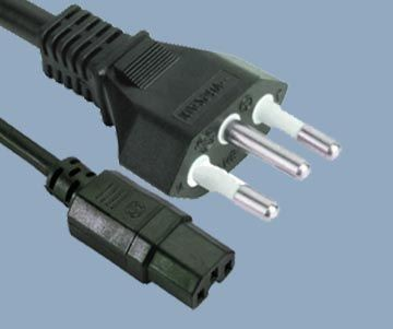 Brazil 14156 plug to IEC C15 3pin power cord