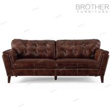 Nouveau Design 3 siège canapé italien chesterfield canapé en cuir véritable canapé ensemble